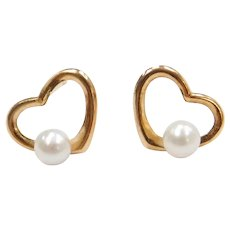10k Gold Cultured Pearl Heart Stud Earrings
