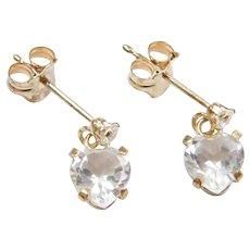 10k Gold Faux Diamond Heart Earrings