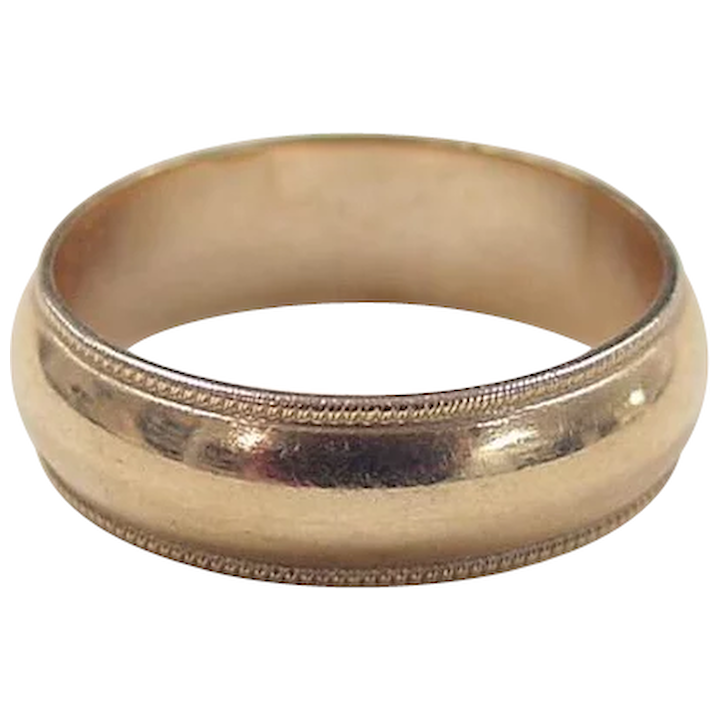 Vintage 1950/'s Rolled Gold Etched Diagonal Lined Striped Border Small Dots Couple Promise Wedding Band For Him Ring Size UK O  US 7 12
