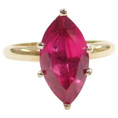 14k Gold Created Ruby Marquise Ring
