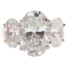 10k Gold Faux Diamond Three Stone Ring