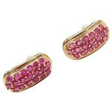 14k Gold Natural Ruby Earrings