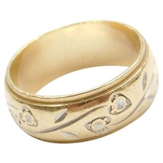 14k Gold Two-Tone Floral Heart and Vine Wedding Band Ring