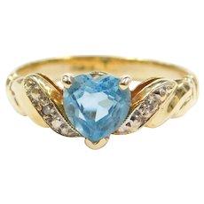 14k Gold Blue Topaz Heart and Diamond Ring