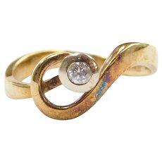14k Gold Diamond Bypass Swirl Ring