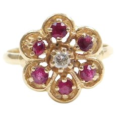 14k Gold Natural Ruby and Diamond Flower Ring