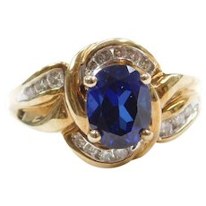 10k Gold Created Sapphire and Diamond Ring
