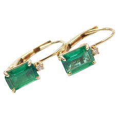 14k Gold Created Emerald and Diamond Earrings ~ Lever Backs