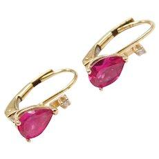 14k Gold Created Ruby and Diamond Earrings Lever Backs