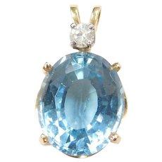 14k Gold Blue Topaz and Diamond Pendant