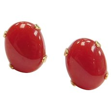14k Gold Coral Glass Stud Earrings