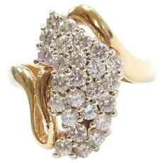 1.13 ctw Diamond Cluster Ring 14k Gold Two-Tone