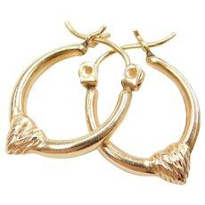 14k Gold Diamond Cut Heart Hoop Earrings