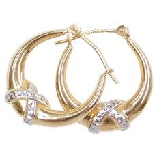 14k Gold Two-Tone Hoop Earrings