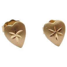 14k Gold Heart Stud Earrings ~ Valentine's Special!
