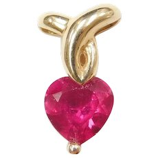 14k Gold Created Ruby Heart Pendant