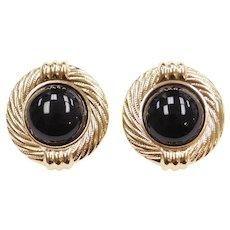 Big 14k Gold Onyx Earrings