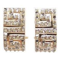 Faux Diamond .49 ctw Greek Key Hoop Earrings 14k Yellow and White Gold Two-Tone