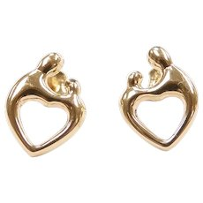 Mother and Child Heart Stud Earrings 14k Yellow Gold