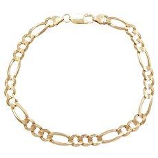 """8 1/2"""" 10k Gold Men's Solid Figaro Link Bracelet"""