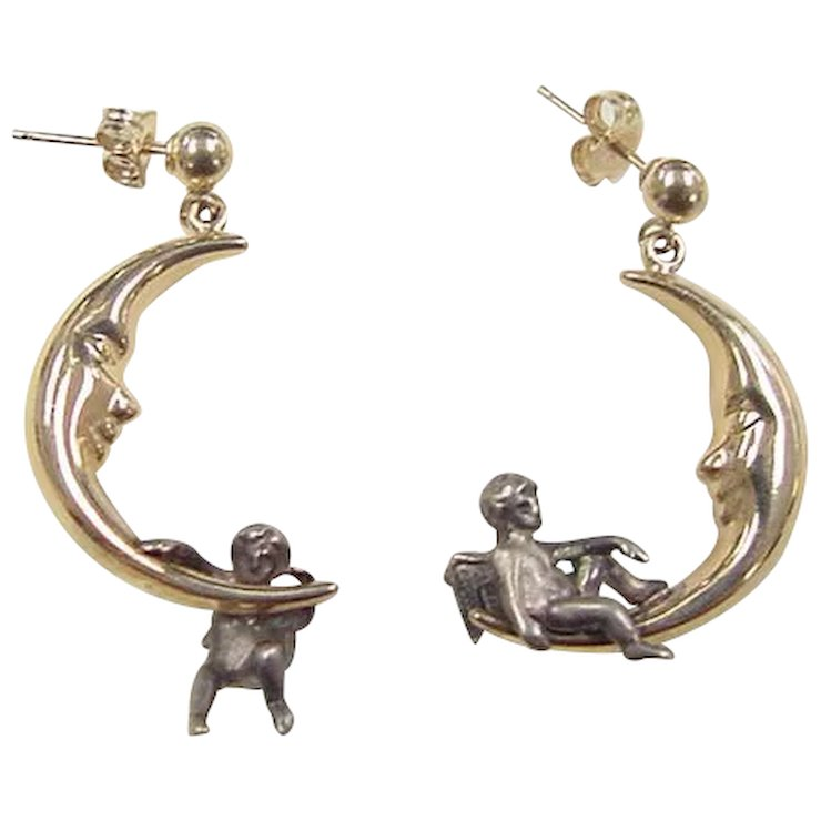 Vintage 14k Gold And Sterling Silver Crescent Moon Angel Earrings
