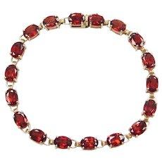 "7"" 10k Gold Garnet Tennis Bracelet"