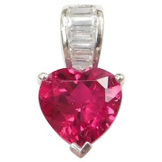 10k White Gold Created Ruby Heart and Faux Diamond Pendant