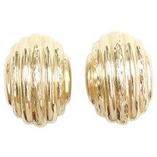 14k Gold Clip On Earrings with Diamond Cut Design
