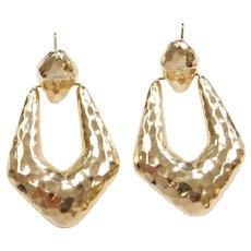 14k Gold Hammered Earrings