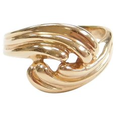 14k Gold Bypass Swirl Ring