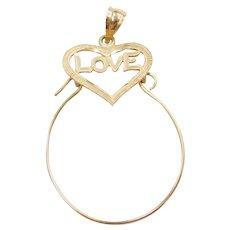 14k Gold LOVE Heart Charm Holder Pendant
