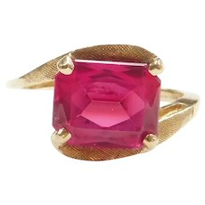 2.80 Carat Created Ruby Bypass Ring 14k Gold