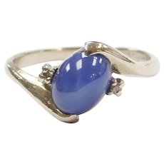 14k White Gold Created Star Sapphire and Diamond Ring