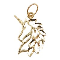 Diamond Cut Unicorn Charm / Pendant 14k Yellow Gold