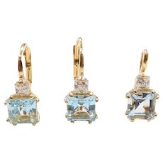 Sky Blue Topaz and Faux Diamond 4.08 ctw Lever Back Earring and Pendant Set 18k Yellow Gold