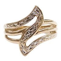 Diamond Cut Fashion Ring 10k Yellow and White Gold Two-Tone