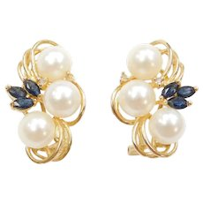 14k Gold Cultured Pearl, Diamond and Sapphire Earrings