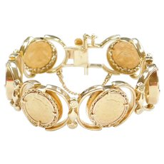 "8 1/2"" 22k & 14k 2.5 Dollar Gold Liberty Head Coin Bracelet 1853 - 1907 Coin Dates"