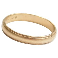 14k Gold Milgrain Edge Wedding Band Ring