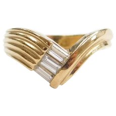 14k Gold .39 ctw Diamond Baguette Bypass Ring