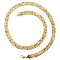"17"" 10k Gold Wide Woven Rope Chain ~ 10.2 Grams"