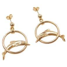 14k Gold Dolphin Earrings