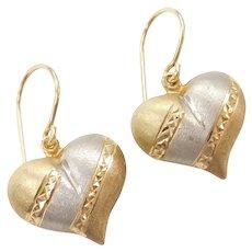 14k Gold Tri-Color Puff Heart Drop Earrings