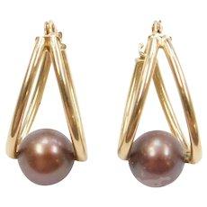 14k Gold Mauve Burgundy Cultured Pearl Hoop Earrings
