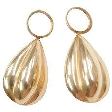14k Gold Puff Teardrop Earring Jackets