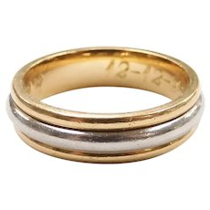 Wedding Band Ring 18k Yellow Gold and Platinum Two-Tone