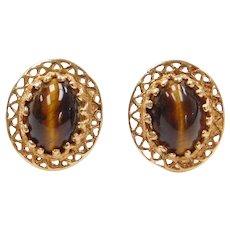 14k Gold Tigers Eye Stud Earrings