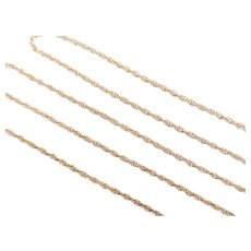 "Loose Rope Chain 14k Yellow Gold 18 1/4"" Length, 2.4 Grams"