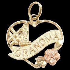 Vintage 14k Gold Two-Tone #1 Grandma Heart Charm with Rose Gold Flower