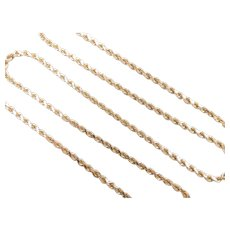 """Solid Diamond Cut Rope Chain 14k Yellow Gold 18"""" Length, 8.8 Grams"""